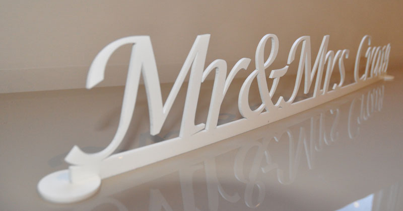 Personalised acrylic perspex letters free standing sign for Personalised mr and mrs letters