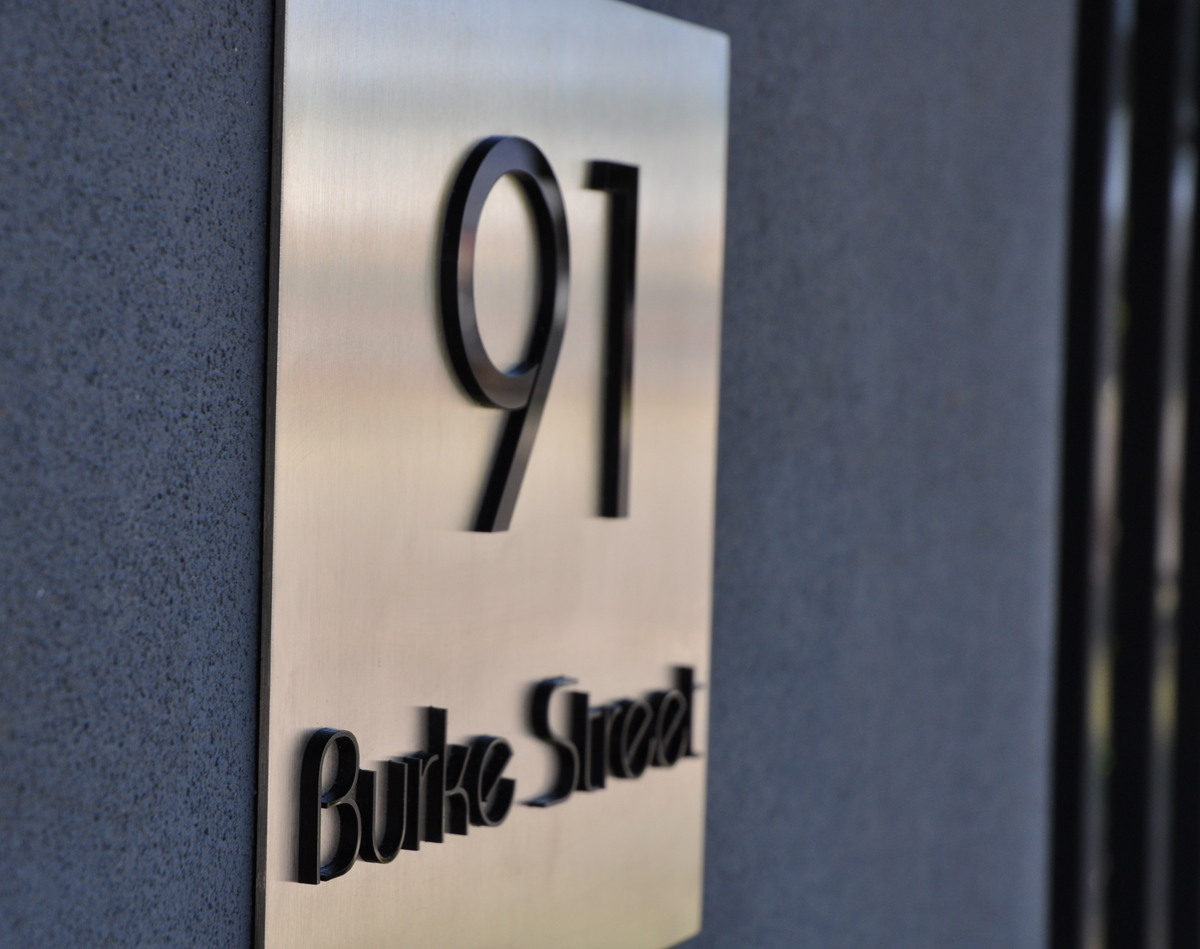 Details about Modern Custom Made STREET HOUSE NUMBER SIGN PLAQUE Laser Cut  Stainless Steel